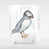 puffin Shower Curtains featuring puffin reverse  by Beth Gilmore