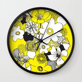 Floral Medley - Yellow Wall Clock