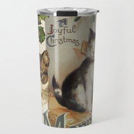Merry Catmas vintage cat xmas illustration Travel Mug