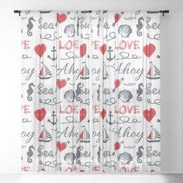 Seamless nautical pattern Sheer Curtain