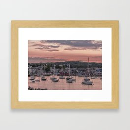 Rockport Harbor Autumn Sunset Framed Art Print