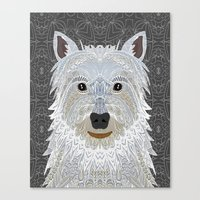 westie Canvas Prints featuring Westie by ArtLovePassion
