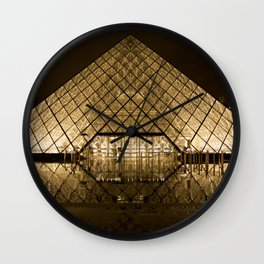 louvre glass pyramid paris pyramid Wall Clock