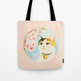 """""""Hanami"""" - Calico Cat and Cherry Blossom Tote Bag"""