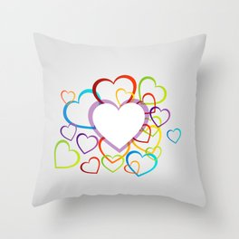 Valentines Day colorful hearts Throw Pillow