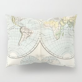 Old Map of The Globe Pillow Sham