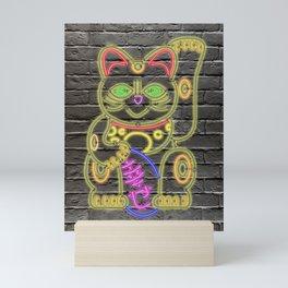 Maneki-Neko Neon – Good Luck - Black Mini Art Print
