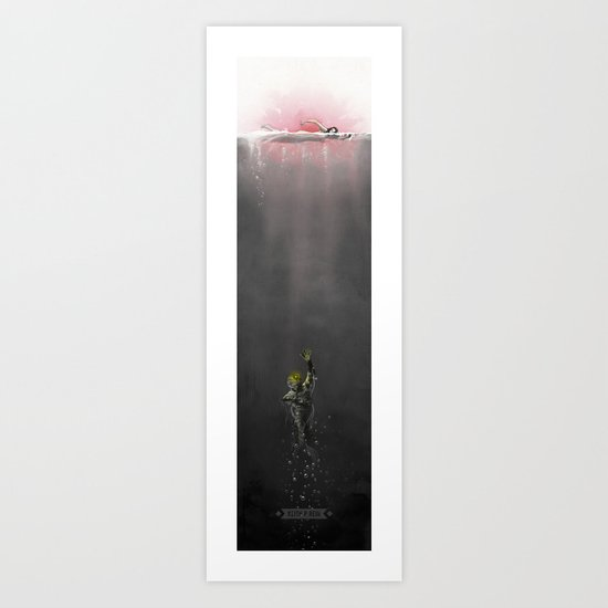 The Creature from Amity Island - B/W/Pink Art Print