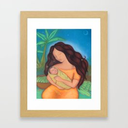 Hawaiian Mother & Child, Banana Tree Framed Art Print