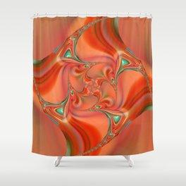 Orange fractal Shower Curtain