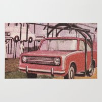 cars Area & Throw Rugs featuring Conveying Cars by Pionero One