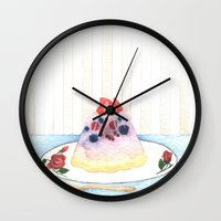 dessert Wall Clocks featuring Dessert by Ghost Pages