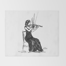 Playing the violin Throw Blanket