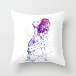 Beautiful Woman Lady Portrait Fashion Art Throw Pillow