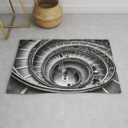 Sublime Spiral Staircase, Vatican, Rome, Italy black and white photograph Rug
