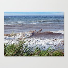 Waves Rolling up the Beach Canvas Print