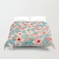 chic Duvet Covers featuring Shabby Chic Hibiscus Patchwork Pattern in Peach & Mint by micklyn