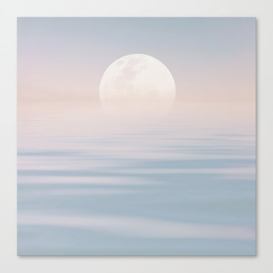 Moon and calm waters Canvas Print