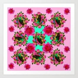 GREEN PEACOCK &  PINK ROSE GARDEN PINK PATTERN Art Print