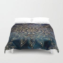 Elegant Gold Mandala Blue Galaxy Design Duvet Cover