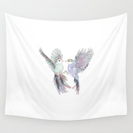 wedding birds 6, birds of paradiese, birds in love tropical bird home decor Wall Tapestry