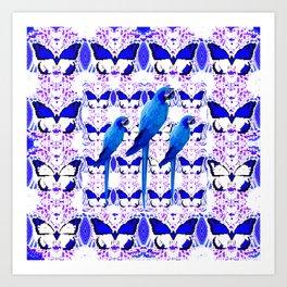ABSTRACT BUTTERFLIES & BLUE MACAWS PATTERN ART Art Print