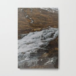 Waterfalls in Glen Etive, Scotland Metal Print