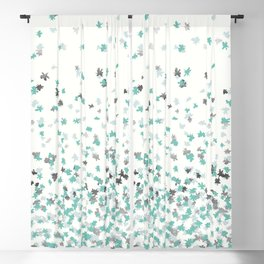 Floating Confetti - Cream Mint and Silver Blackout Curtain