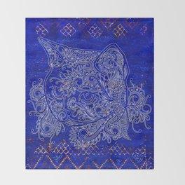(N20) Tribal Cute Cat Hand Drawing, Traditonal Moroccan Carpet Background Throw Blanket