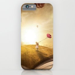 Girl with Balloons at Sunset atop open book magical realism portrait painting iPhone Case