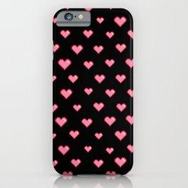 Pixel Heart Pattern on Black Background iPhone Case