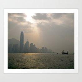 Beam of Light, Hong Kong Harbour Art Print