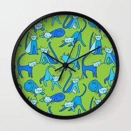 kitty kat (blue on green) Wall Clock