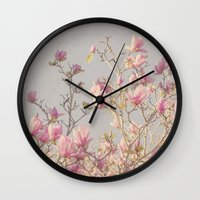 magnolia Wall Clocks featuring Magnolia  by Pure Nature Photos