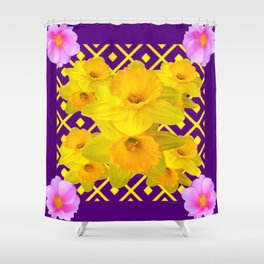Wild Roses Gold Daffodil Purple Pattern Shower Curtain