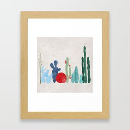 Cactus Garden on light background Framed Art Print