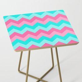 Hot Pink Turquoise Aqua Blue Chevron Zigzag Pattern Print Side Table