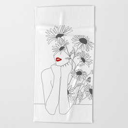 Minimal Line Art Girl with Sunflowers Beach Towel