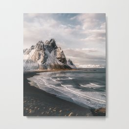 Stokksnes Icelandic Mountain Beach Sunset - Landscape Photography Metal Print