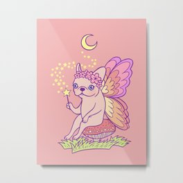Make a wish while Frenchie fairy is casting a magical spell Metal Print