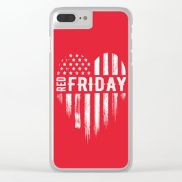 Red Friday Distressed USA Heart Military Clear iPhone Case
