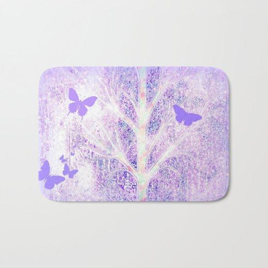 Lila white spring dream with butterflies Bath Mat