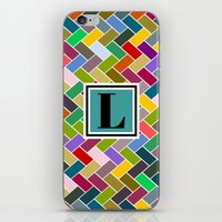 monogram iPhone & iPod Skins featuring L Monogram by mailboxdisco