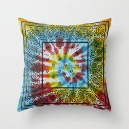 Tie Dye Bandana with Black Paisley Pattern Throw Pillow