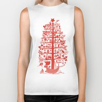 blankets Biker Tanks featuring CHRISTMAS TREE red ITINERANT by Chicca Besso