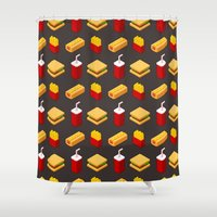 junk food Shower Curtains featuring Isometric junk food pattern by Irmirx