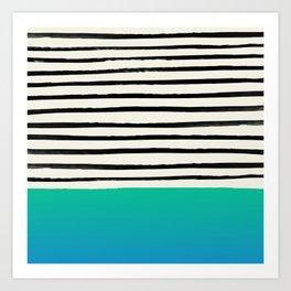 Mermaid & Stripes Art Print