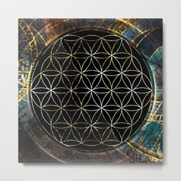 Flower of Life and Zodiac in Cosmic Space Metal Print