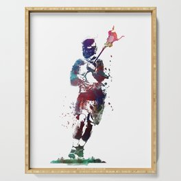 Lacrosse player art 2 Serving Tray