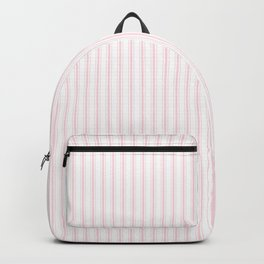 Light Soft Pastel Pink and White Mattress Ticking Backpack